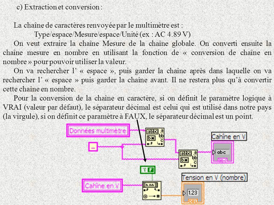 c) Extraction et conversion : La chaîne de caractères renvoyée par le multimètre est : Type/espace/Mesure/espace/Unité (ex : AC 4.89 V) On veut extrai