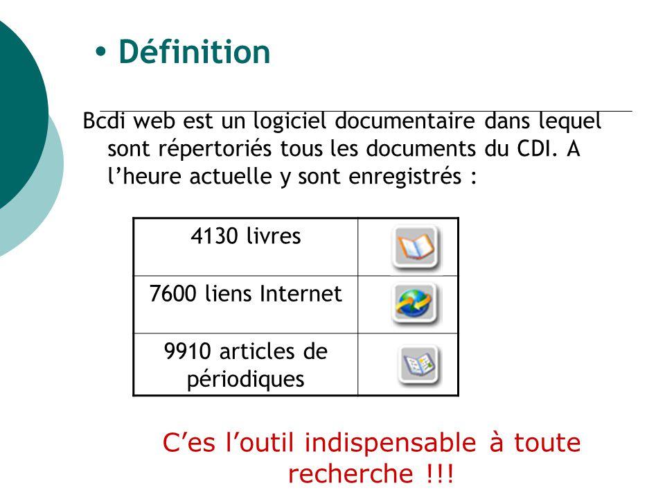 Définition Bcdi web est un logiciel documentaire dans lequel sont répertoriés tous les documents du CDI.