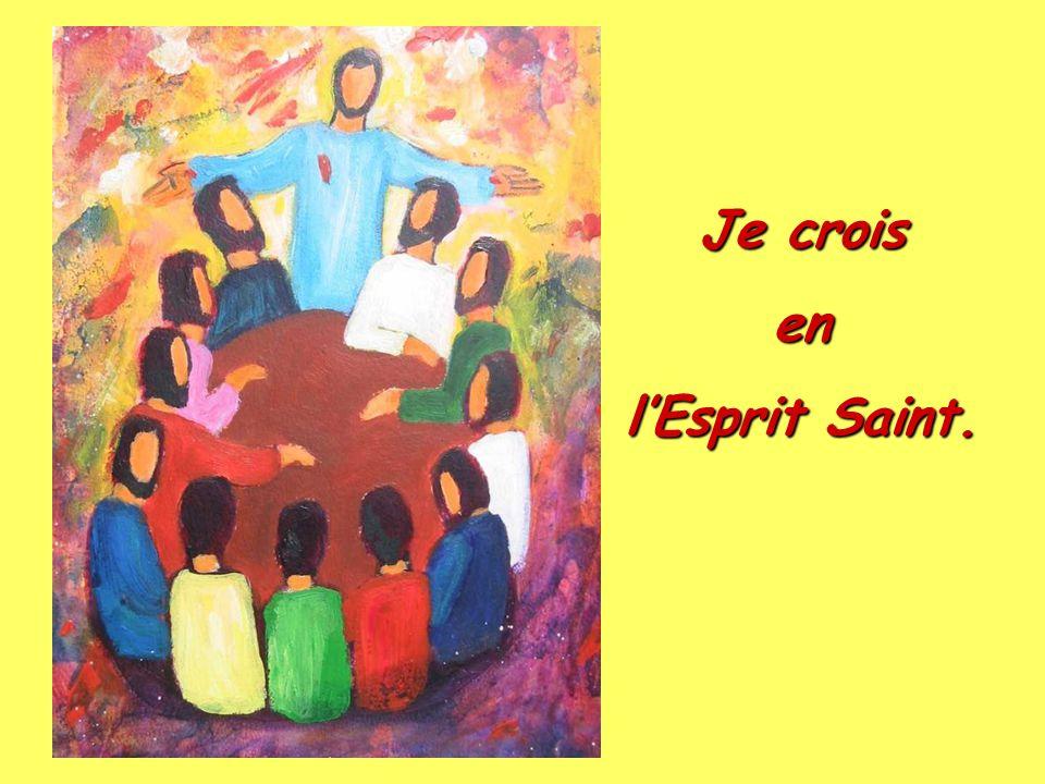 Je crois en Jésus-Christ qui est monté aux cieux, est assis à la droite de Dieu le Père Tout-Puissant d'où il viendra juger les vivants et les morts.