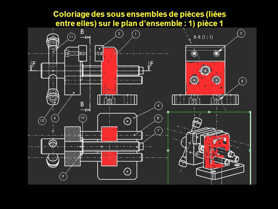 Coloriage des sous ensembles de pièces (liées entre elles) sur le plan densemble : 1) pièce 1