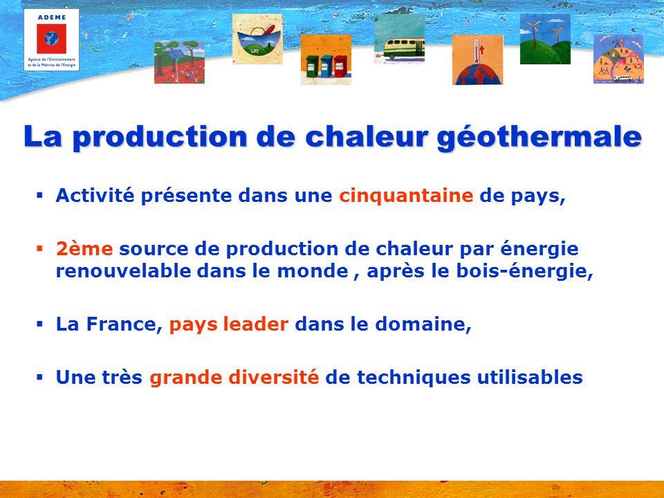 La production de chaleur géothermale Activité présente dans une cinquantaine de pays, 2ème source de production de chaleur par énergie renouvelable da