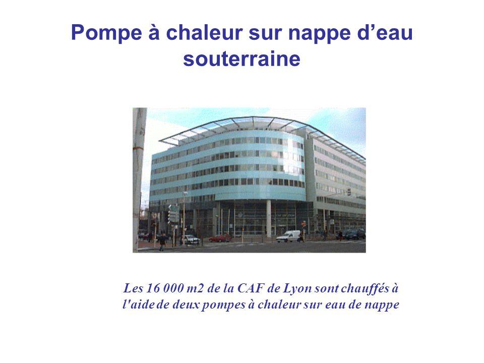 Pompe à chaleur sur nappe deau souterraine Les 16 000 m2 de la CAF de Lyon sont chauffés à l'aide de deux pompes à chaleur sur eau de nappe