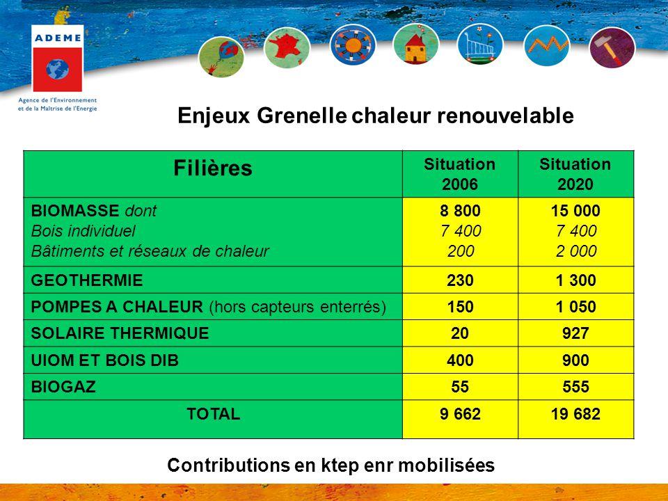 Filières Situation 2006 Situation 2020 BIOMASSE dont Bois individuel Bâtiments et réseaux de chaleur 8 800 7 400 200 15 000 7 400 2 000 GEOTHERMIE2301