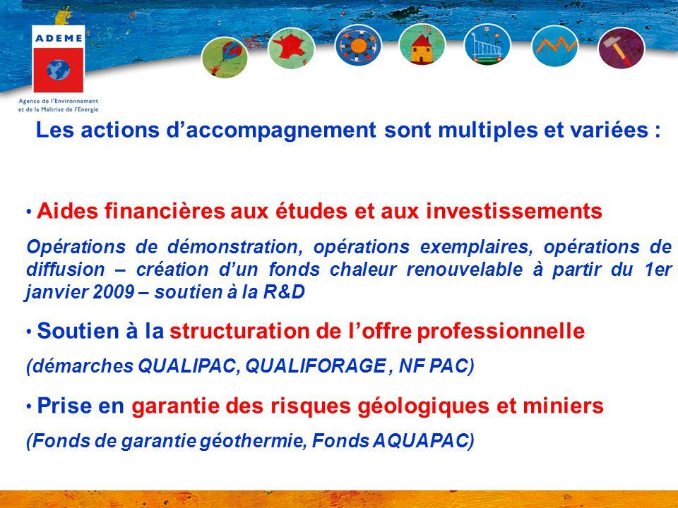Les actions daccompagnement sont multiples et variées : Aides financières aux études et aux investissements Opérations de démonstration, opérations ex