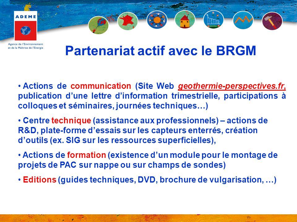 Actions de communication (Site Web geothermie-perspectives.fr, publication dune lettre dinformation trimestrielle, participations à colloques et sémin
