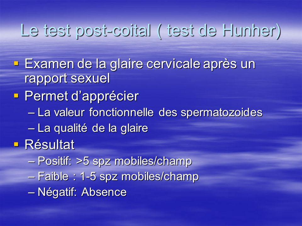 Spermogramme Fertilité normale: Fertilité normale: –Spermogramme normal+TPC positif Hypofertilité Hypofertilité –OAS +TPC faible Stérilité Stérilité –Azoospermie