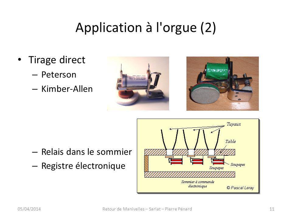 Application à l'orgue (2) Tirage direct – Peterson – Kimber-Allen – Relais dans le sommier – Registre électronique 05/04/201411Retour de Manivelles –