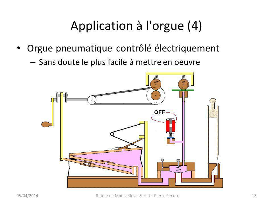 Application à l'orgue (4) Orgue pneumatique contrôlé électriquement – Sans doute le plus facile à mettre en oeuvre 05/04/201413Retour de Manivelles –
