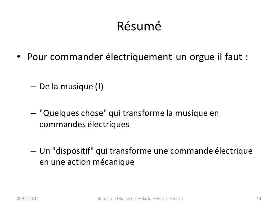 Résumé Pour commander électriquement un orgue il faut : – De la musique (!) –