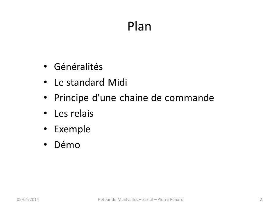 Plan Généralités Le standard Midi Principe d'une chaine de commande Les relais Exemple Démo 05/04/20142Retour de Manivelles – Sarlat – Pierre Pénard
