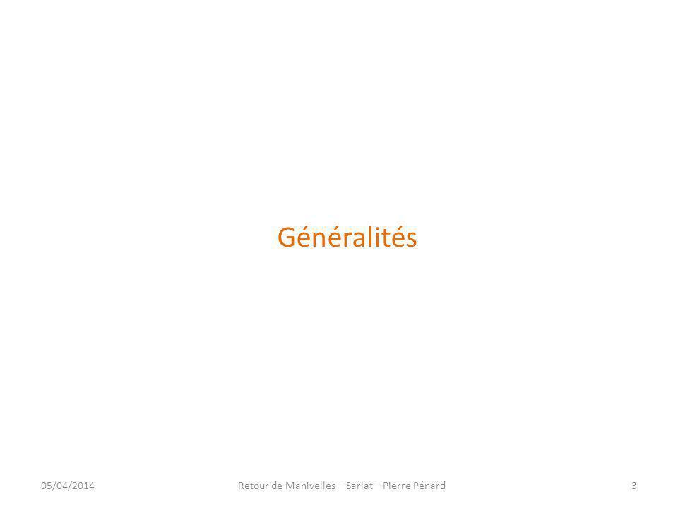 Midifile (exemple) Piste (suite) Après un temps de 82 68 = 360 ticks = 1.5s ( codage VLC : 1000 0010 0110 1000 = 360 ) Note off sur canal 0 Numéro de la note : 48 (72d) Vélocité : 0 05/04/201434Retour de Manivelles – Sarlat – Pierre Pénard