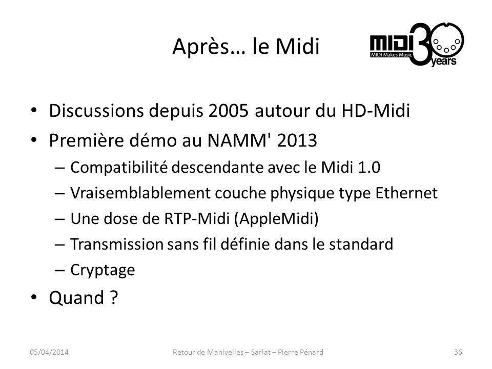 Après… le Midi Discussions depuis 2005 autour du HD-Midi Première démo au NAMM' 2013 – Compatibilité descendante avec le Midi 1.0 – Vraisemblablement