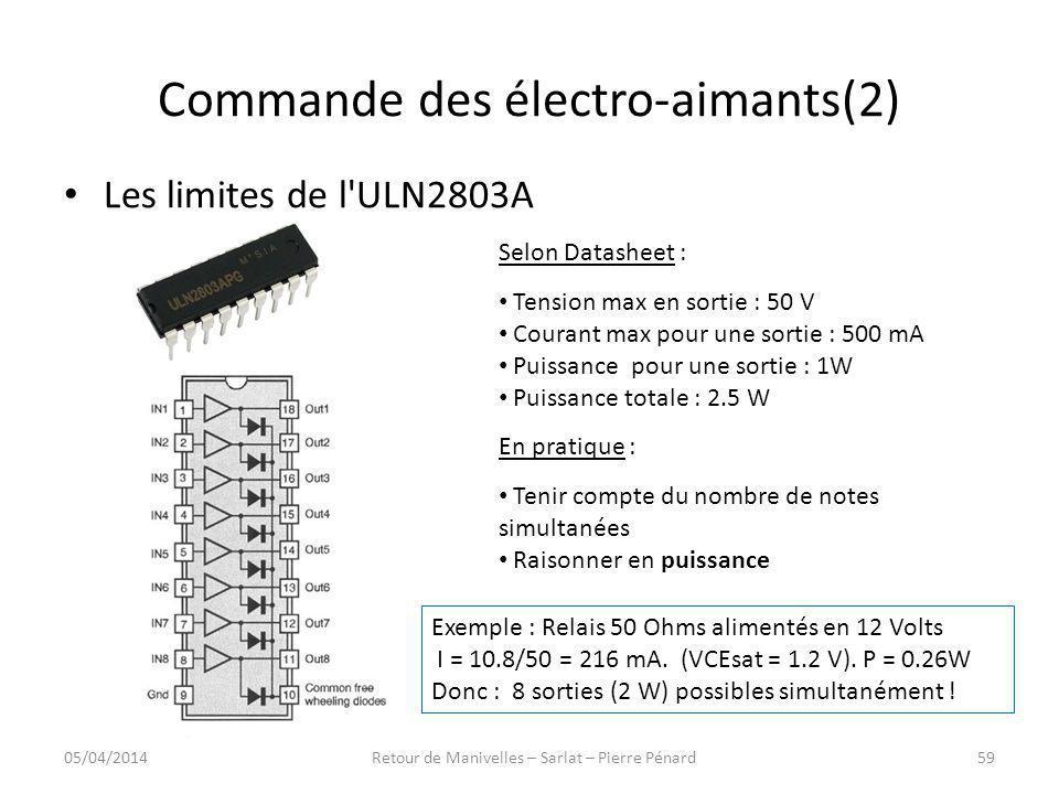 Commande des électro-aimants(2) Les limites de l'ULN2803A Selon Datasheet : Tension max en sortie : 50 V Courant max pour une sortie : 500 mA Puissanc
