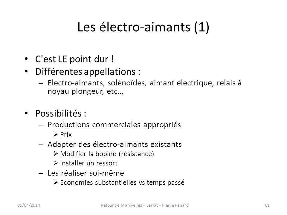 Les électro-aimants (1) C'est LE point dur ! Différentes appellations : – Electro-aimants, solénoïdes, aimant électrique, relais à noyau plongeur, etc