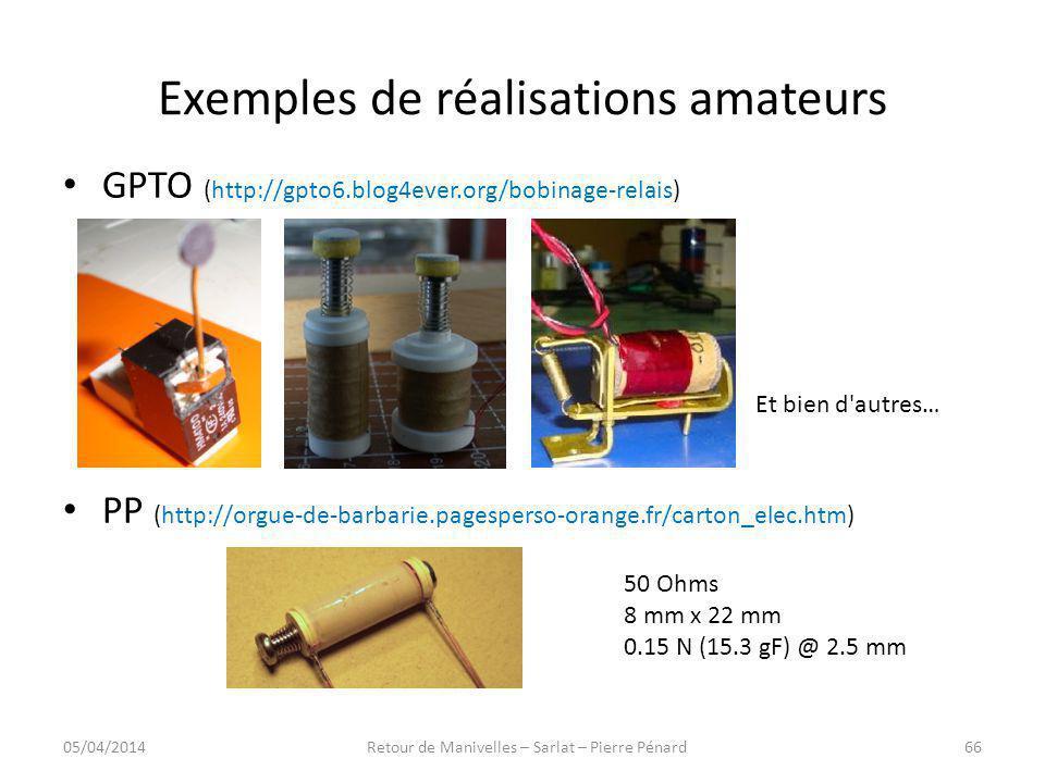 Exemples de réalisations amateurs GPTO (http://gpto6.blog4ever.org/bobinage-relais) PP (http://orgue-de-barbarie.pagesperso-orange.fr/carton_elec.htm)