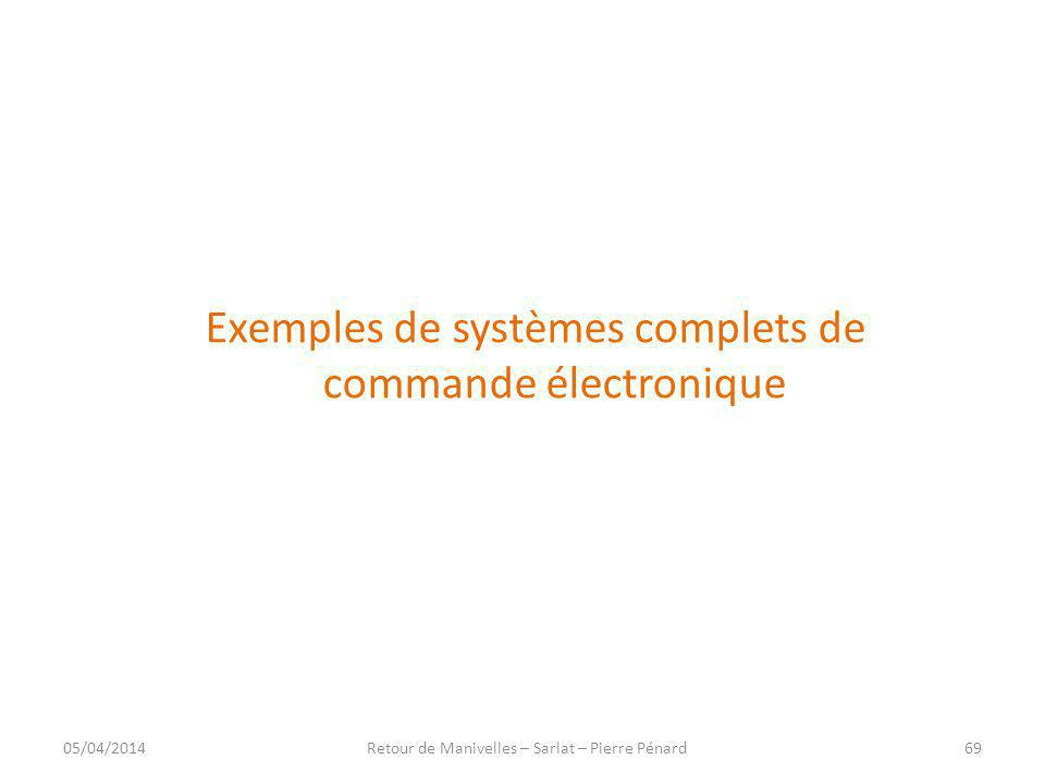 Exemples de systèmes complets de commande électronique 05/04/2014Retour de Manivelles – Sarlat – Pierre Pénard69