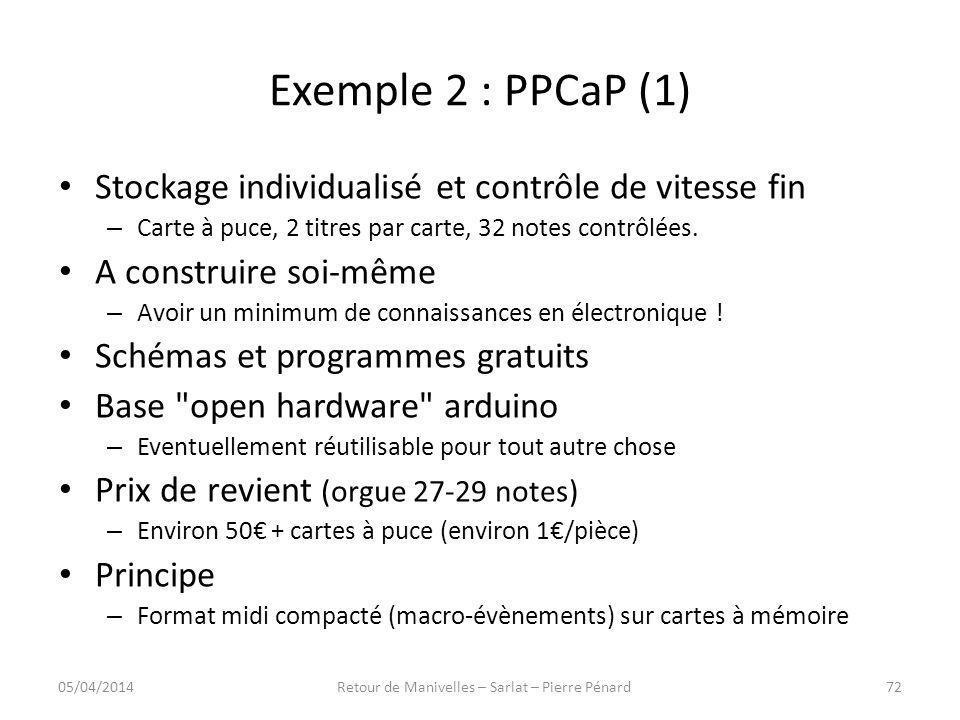Exemple 2 : PPCaP (1) Stockage individualisé et contrôle de vitesse fin – Carte à puce, 2 titres par carte, 32 notes contrôlées. A construire soi-même