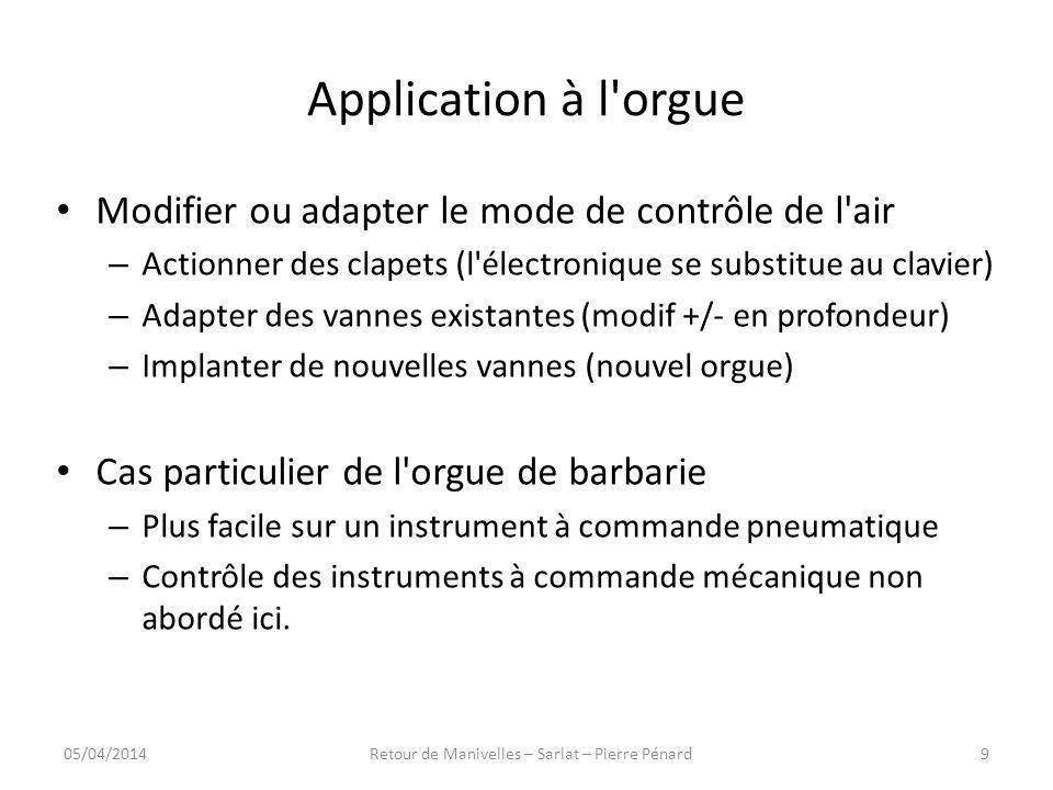 Application à l orgue (1) Tirage électro-pneumatique – Valve type Hope Jones (1886) 05/04/201410Retour de Manivelles – Sarlat – Pierre Pénard
