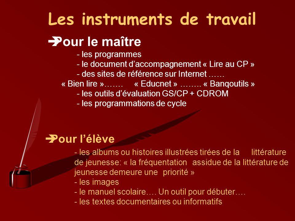Les instruments de travail Pour le maître - les programmes - le document daccompagnement « Lire au CP » - des sites de référence sur Internet …… « Bie
