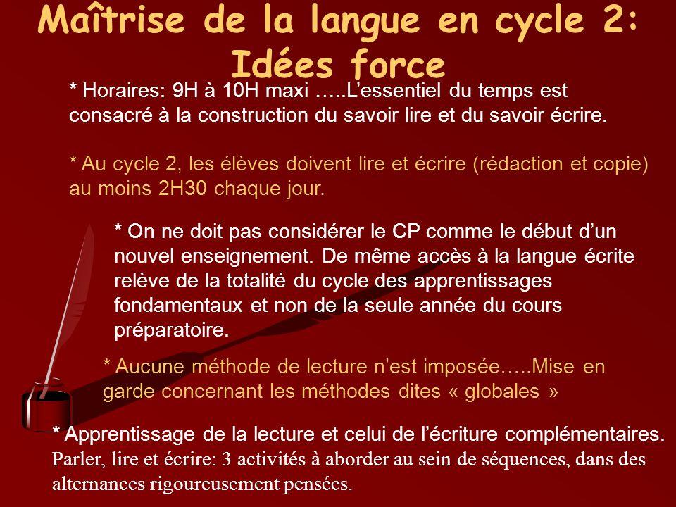Maîtrise de la langue en cycle 2: Idées force * Horaires: 9H à 10H maxi …..Lessentiel du temps est consacré à la construction du savoir lire et du sav