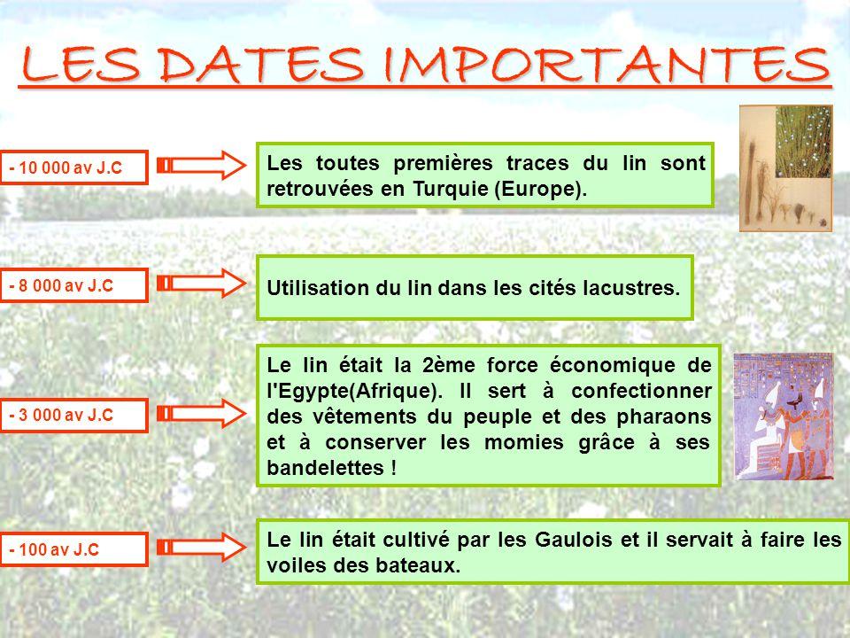 LES DATES IMPORTANTES Les toutes premières traces du lin sont retrouvées en Turquie (Europe). - 10 000 av J.C Utilisation du lin dans les cités lacust