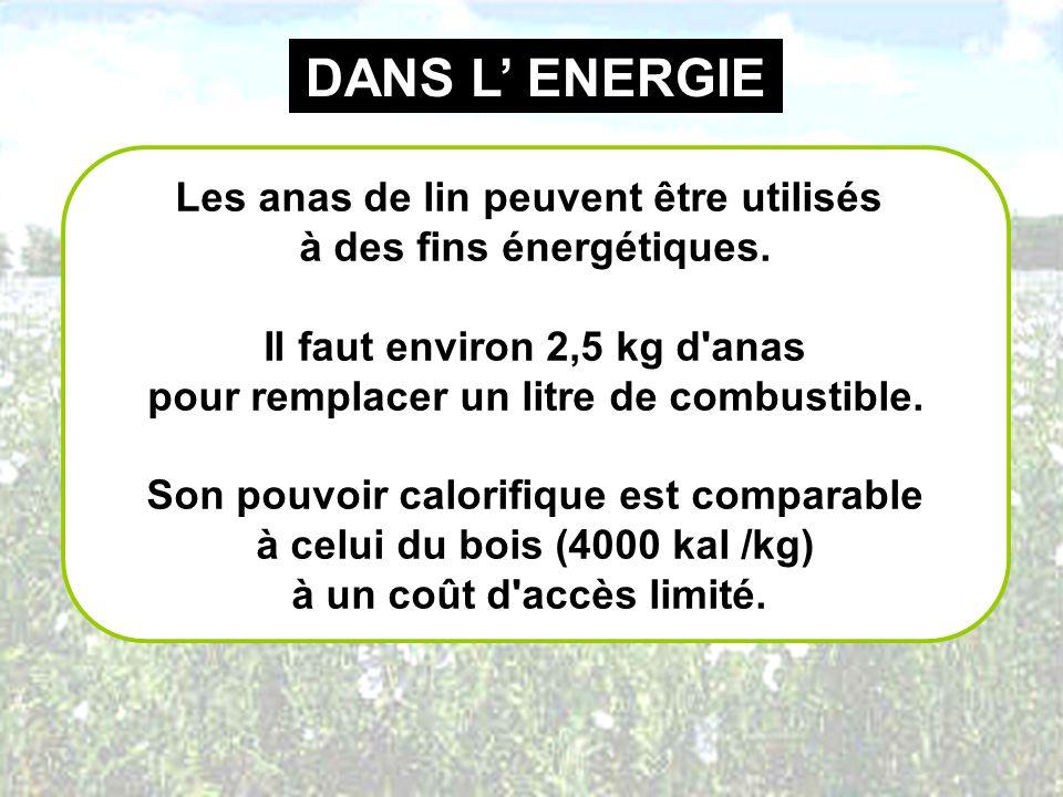 DANS L ENERGIE Les anas de lin peuvent être utilisés à des fins énergétiques. Il faut environ 2,5 kg d'anas pour remplacer un litre de combustible. So