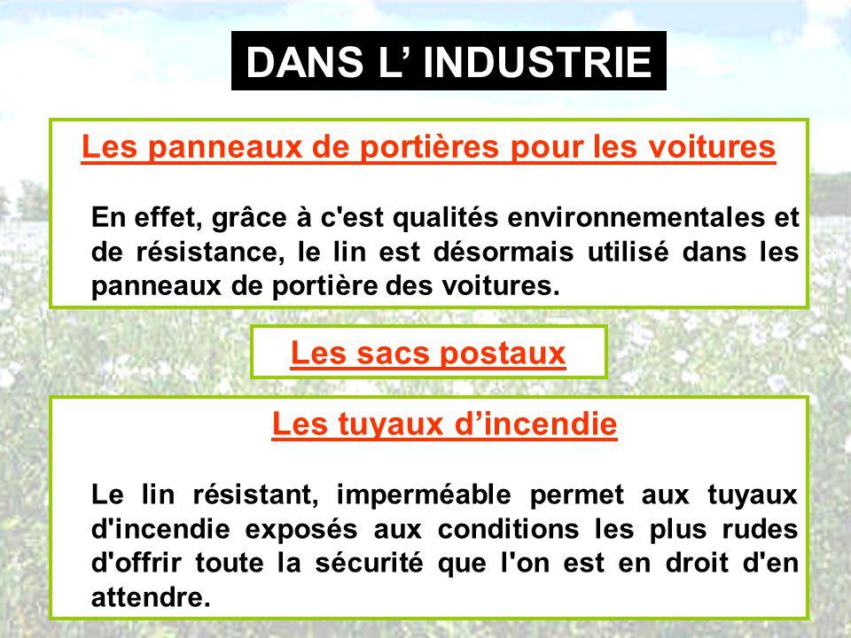 DANS L INDUSTRIE Les panneaux de portières pour les voitures En effet, grâce à c'est qualités environnementales et de résistance, le lin est désormais