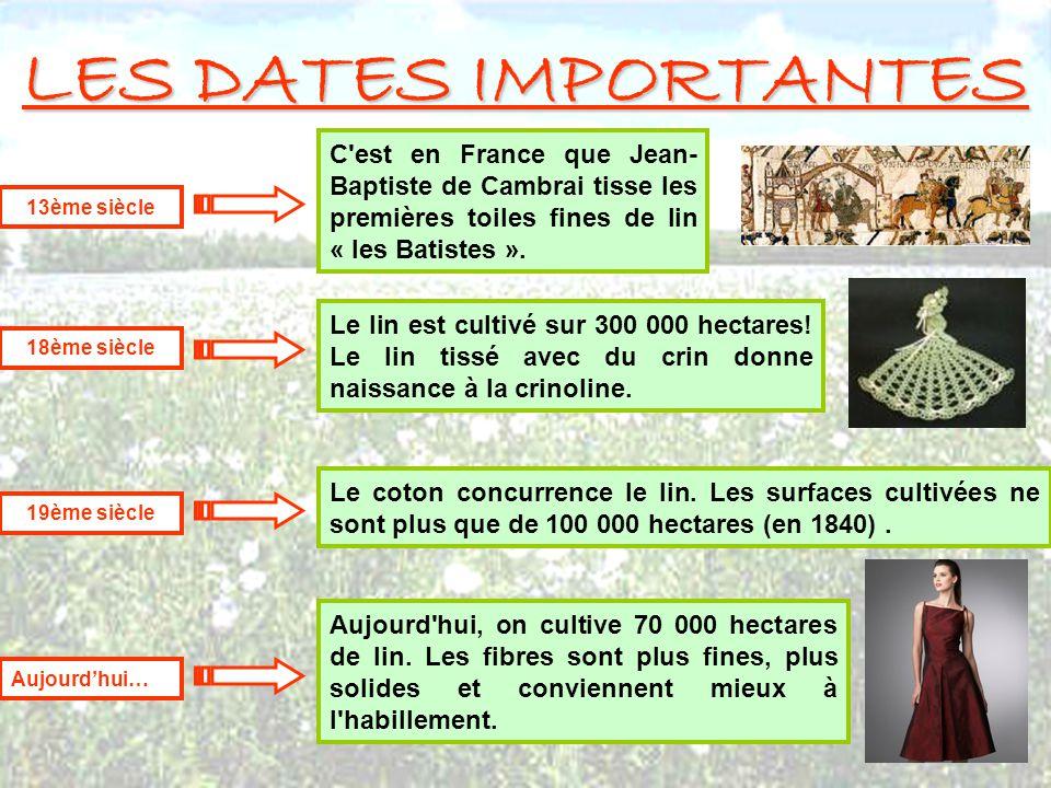 LES DATES IMPORTANTES C'est en France que Jean- Baptiste de Cambrai tisse les premières toiles fines de lin « les Batistes ». 13ème siècle Le coton co
