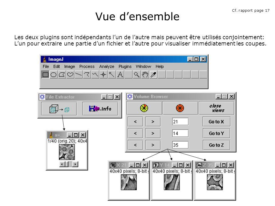 Vue densemble Les deux plugins sont indépendants lun de lautre mais peuvent être utilisés conjointement: Lun pour extraire une partie dun fichier et lautre pour visualiser immédiatement les coupes.