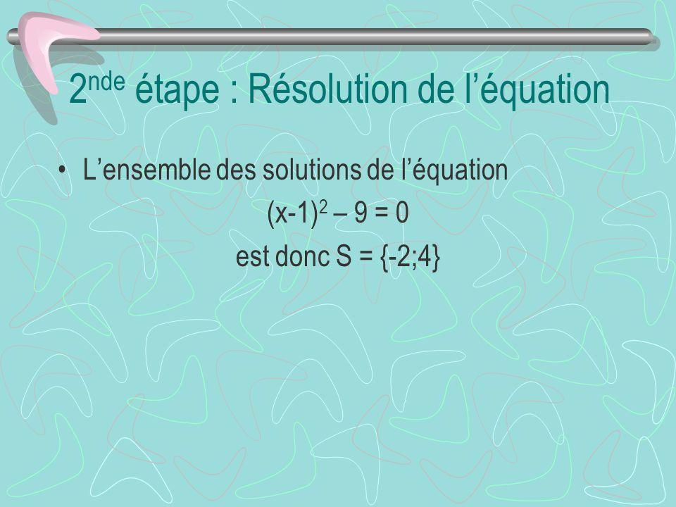 2 nde étape : Résolution de léquation Lensemble des solutions de léquation (x-1) 2 – 9 = 0 est donc S = {-2;4}