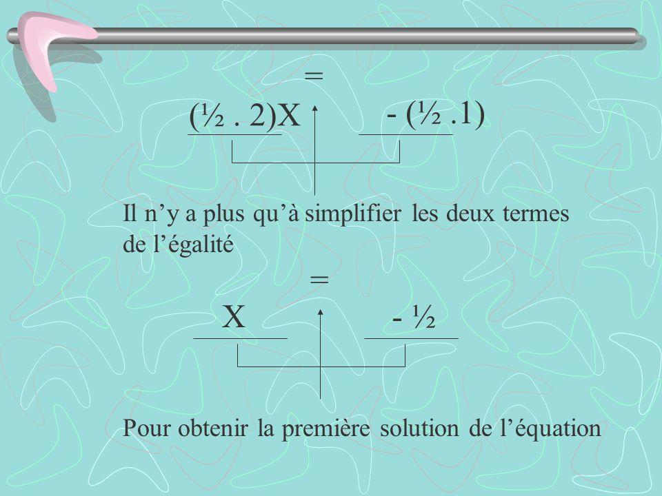Il ny a plus quà simplifier les deux termes de légalité Pour obtenir la première solution de léquation (½. 2)X - (½.1) = X- ½ =