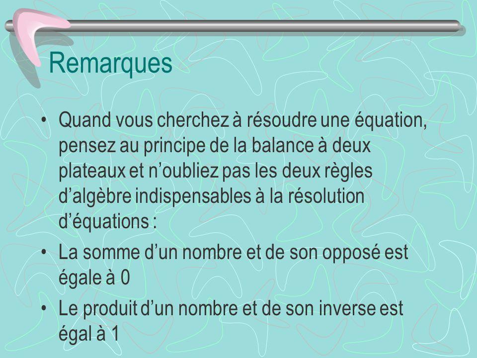Remarques Quand vous cherchez à résoudre une équation, pensez au principe de la balance à deux plateaux et noubliez pas les deux règles dalgèbre indis