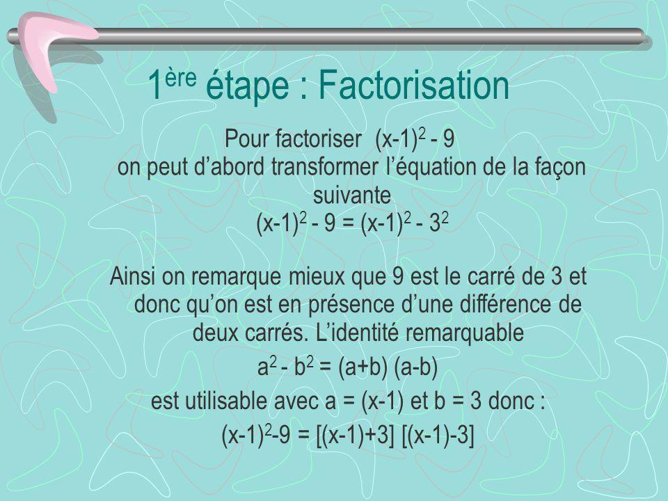 On peut maintenant enlever les parenthèses à lintérieur des crochets pour simplifier lexpression ce qui nous donne : (x-1) 2 -9 = [x-1+3] [x-1-3] = (x-1+3) (x-1-3) doù(x-1) 2 -9 = (x+2) (x-4)