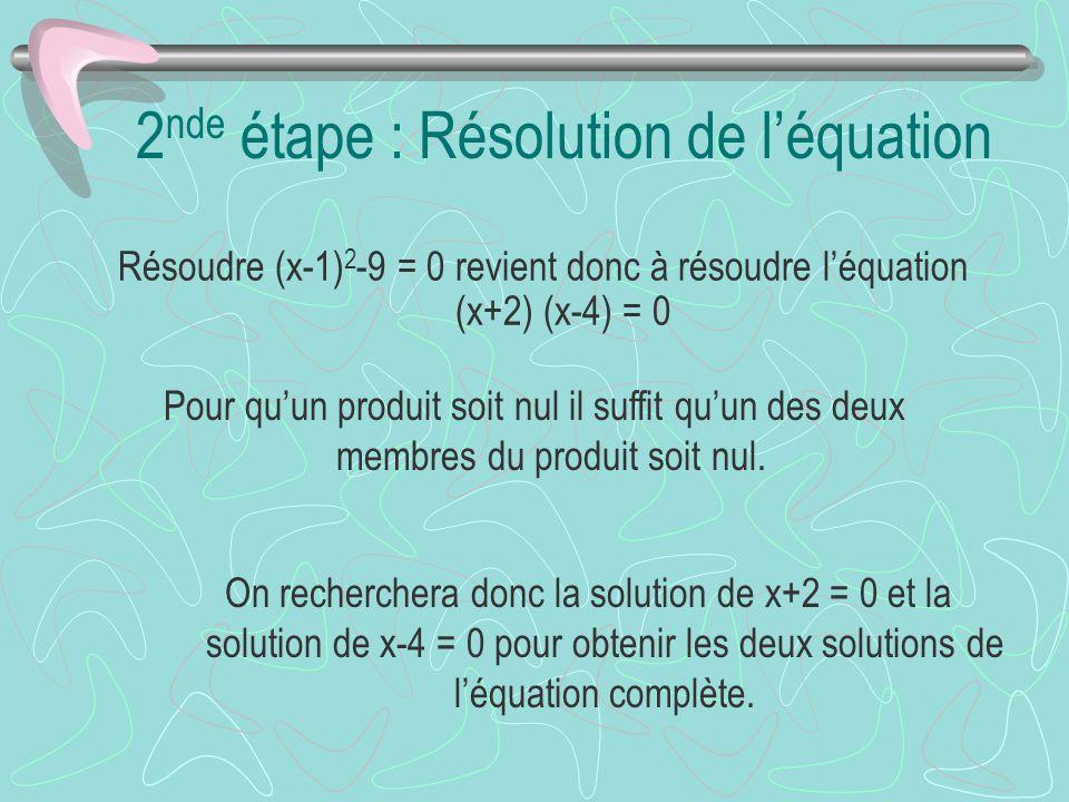 Pour quun produit soit nul il suffit quun des deux membres du produit soit nul. On recherchera donc la solution de x+2 = 0 et la solution de x-4 = 0 p