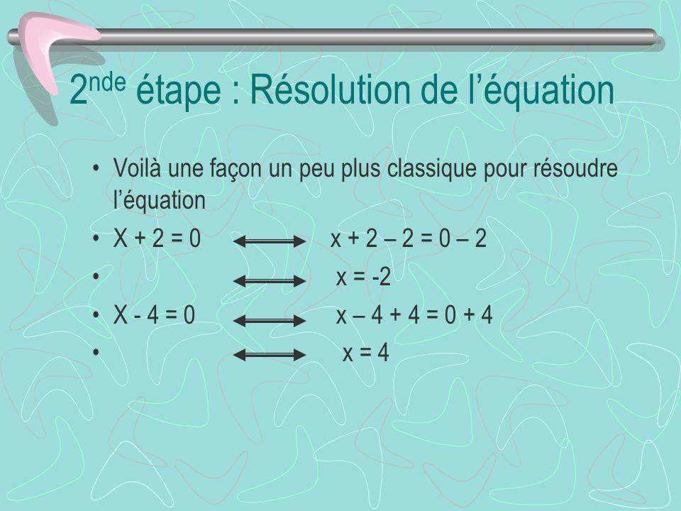 2 nde étape : Résolution de léquation Voilà une façon un peu plus classique pour résoudre léquation X + 2 = 0 x + 2 – 2 = 0 – 2 x = -2 X - 4 = 0 x – 4