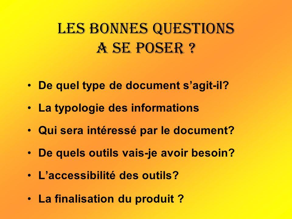 Les bonnes questions a se poser ? De quel type de document sagit-il? La typologie des informations Qui sera intéressé par le document? De quels outils