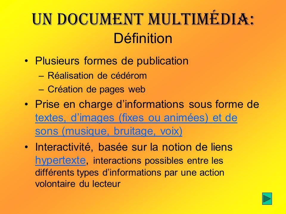 Un document multimédia: Définition Plusieurs formes de publication –Réalisation de cédérom –Création de pages web Prise en charge dinformations sous f