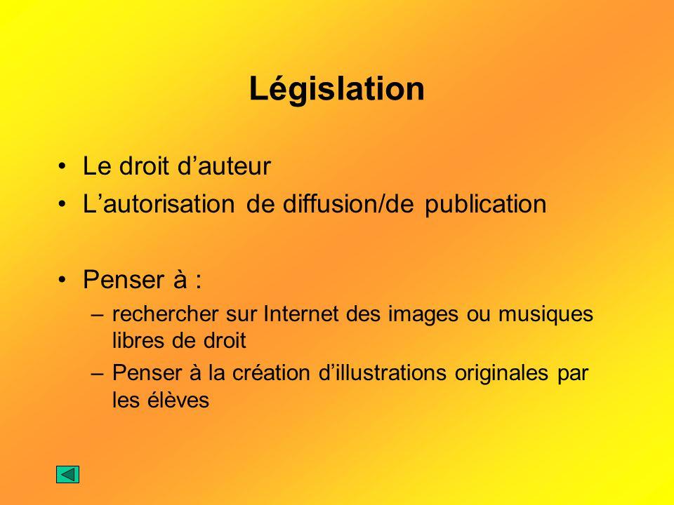 Législation Le droit dauteur Lautorisation de diffusion/de publication Penser à : –rechercher sur Internet des images ou musiques libres de droit –Pen