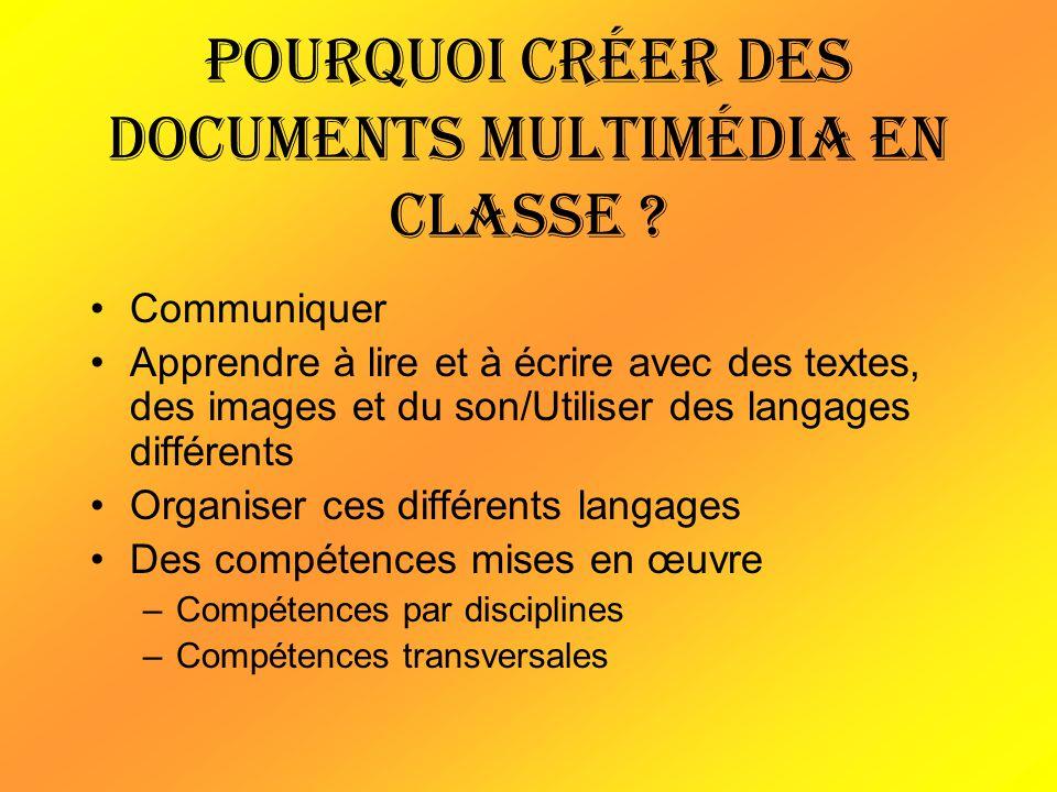 Pourquoi créer des documents multimédia en classe ? Communiquer Apprendre à lire et à écrire avec des textes, des images et du son/Utiliser des langag