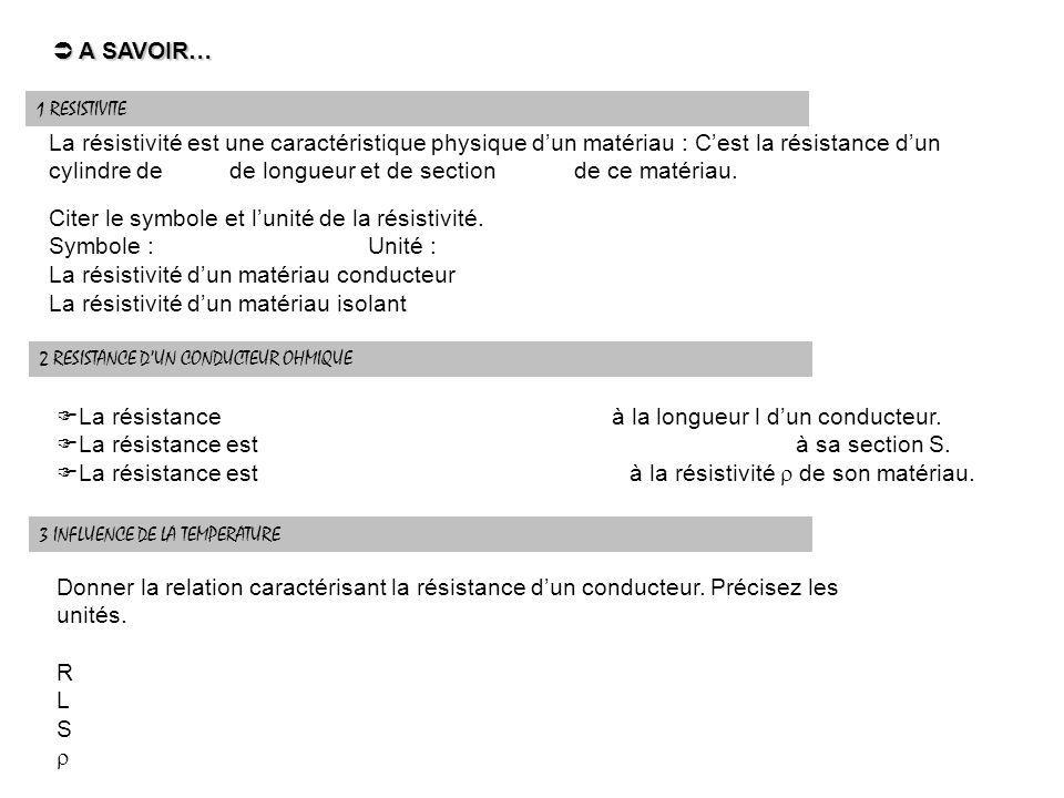A SAVOIR… A SAVOIR… 1 RESISTIVITE La résistivité est une caractéristique physique dun matériau : Cest la résistance dun cylindre de de longueur et de