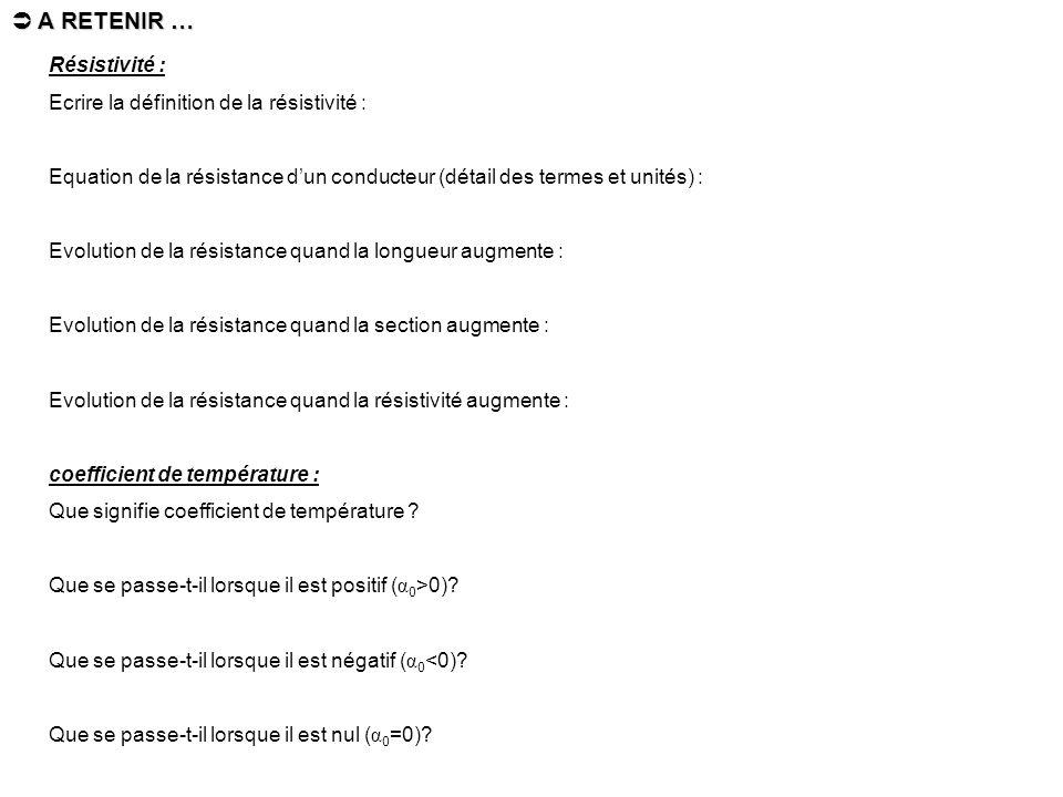 Résistivité : Ecrire la définition de la résistivité : Equation de la résistance dun conducteur (détail des termes et unités) : Evolution de la résist