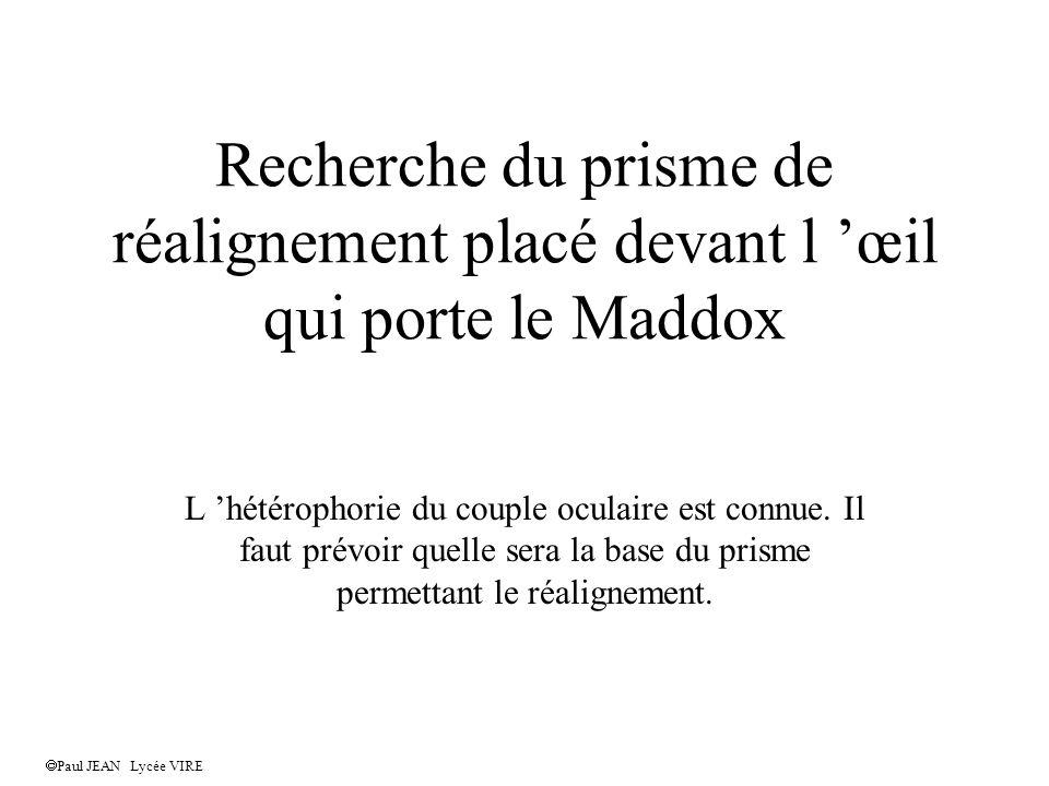 Recherche du prisme de réalignement placé devant l œil qui porte le Maddox L hétérophorie du couple oculaire est connue.