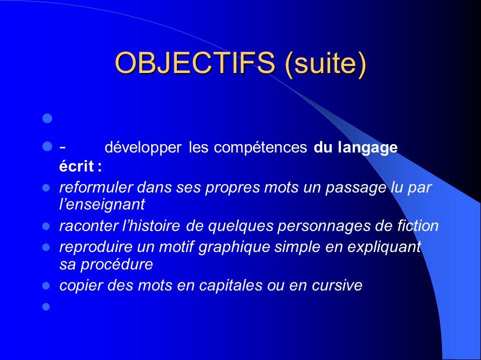 OBJECTIFS (suite) - développer les compétences du langage écrit : reformuler dans ses propres mots un passage lu par lenseignant raconter lhistoire de quelques personnages de fiction reproduire un motif graphique simple en expliquant sa procédure copier des mots en capitales ou en cursive