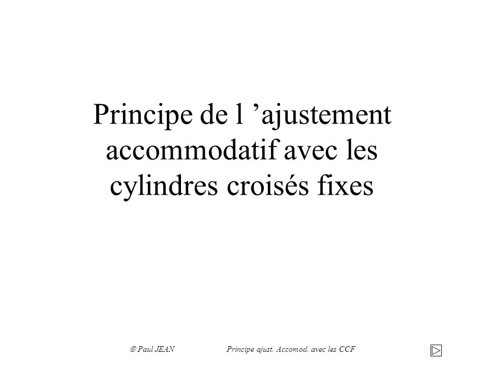 Principe de l ajustement accommodatif avec les cylindres croisés fixes Paul JEAN Principe ajust. Accomod. avec les CCF