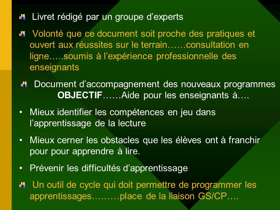 Livret rédigé par un groupe dexperts Volonté que ce document soit proche des pratiques et ouvert aux réussites sur le terrain……consultation en ligne….