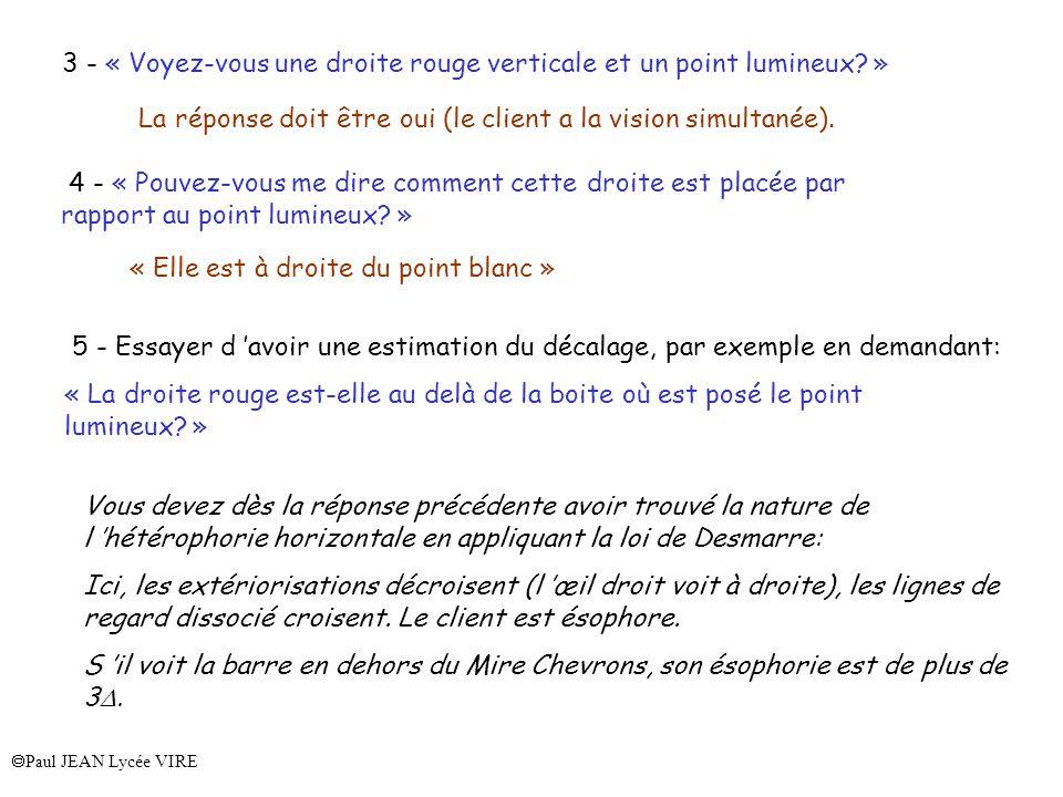 Paul JEAN Lycée VIRE 3 - « Voyez-vous une droite rouge verticale et un point lumineux? » La réponse doit être oui (le client a la vision simultanée).