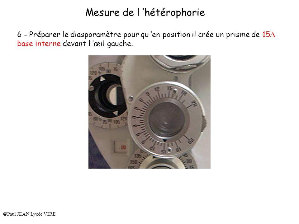 Paul JEAN Lycée VIRE Mesure de l hétérophorie 6 - Préparer le diasporamètre pour qu en position il crée un prisme de 15 base interne devant l œil gauc