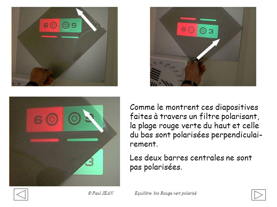 Comme le montrent ces diapositives faites à travers un filtre polarisant, la plage rouge verte du haut et celle du bas sont polarisées perpendiculai-