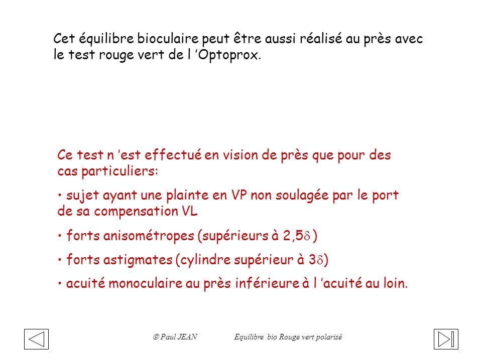 Cet équilibre bioculaire peut être aussi réalisé au près avec le test rouge vert de l Optoprox. Ce test n est effectué en vision de près que pour des