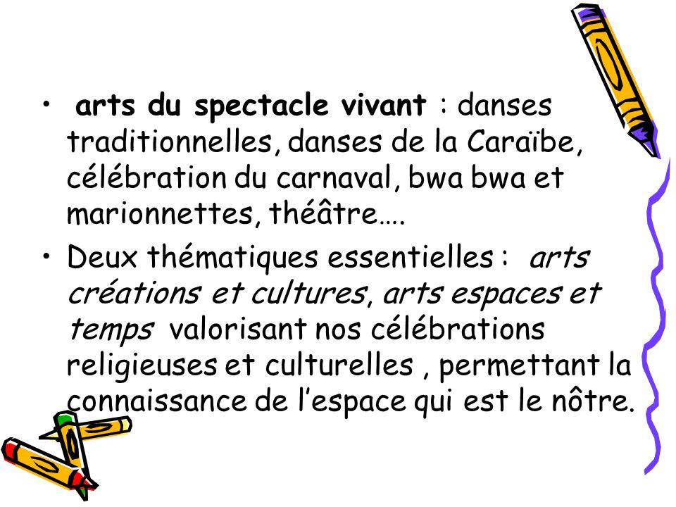 arts du spectacle vivant : danses traditionnelles, danses de la Caraïbe, célébration du carnaval, bwa bwa et marionnettes, théâtre…. Deux thématiques